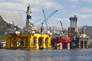 Oil and gas platform in Norway. Energy industry. Petroleum